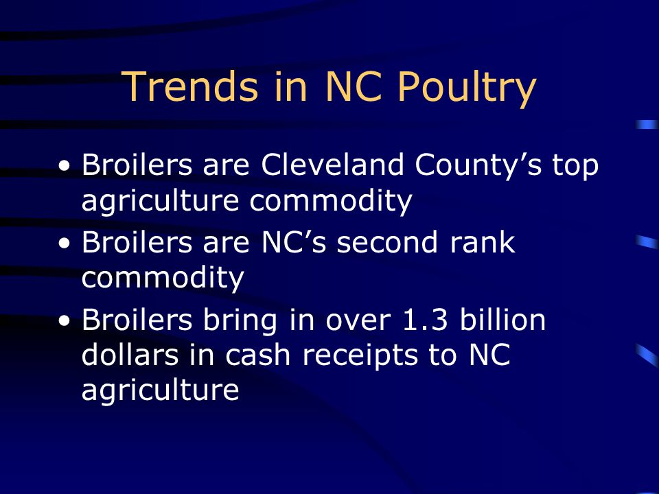 Trends in NC Poultry Broilers are Cleveland County's top agriculture commodity. Broilers are NC's second rank commodity.