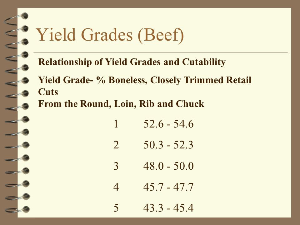 Yield Grades (Beef) 1 52.6 - 54.6 2 50.3 - 52.3 3 48.0 - 50.0