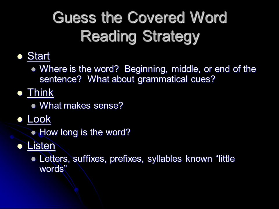 Guess the Covered Word Reading Strategy