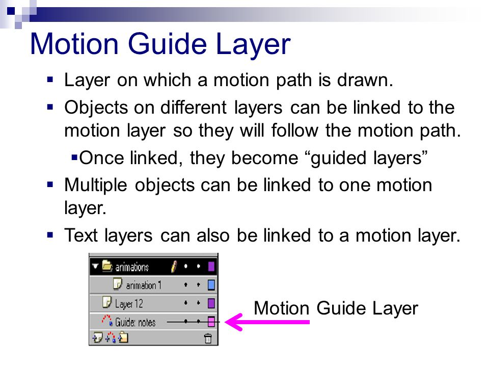 Motion Guide Layer Layer on which a motion path is drawn.