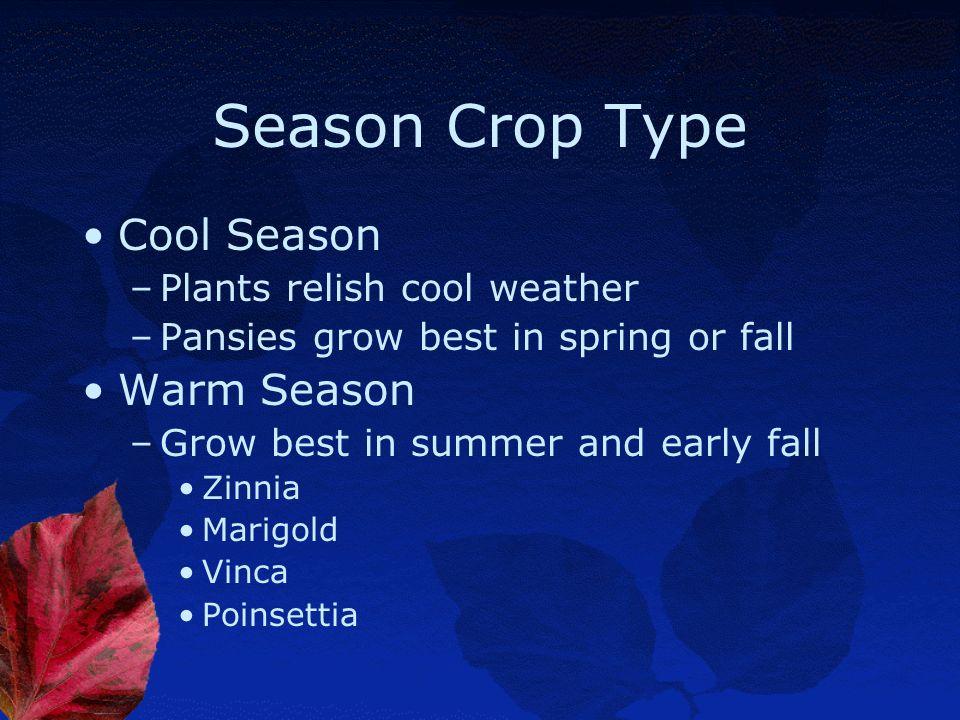 Season Crop Type Cool Season Warm Season Plants relish cool weather