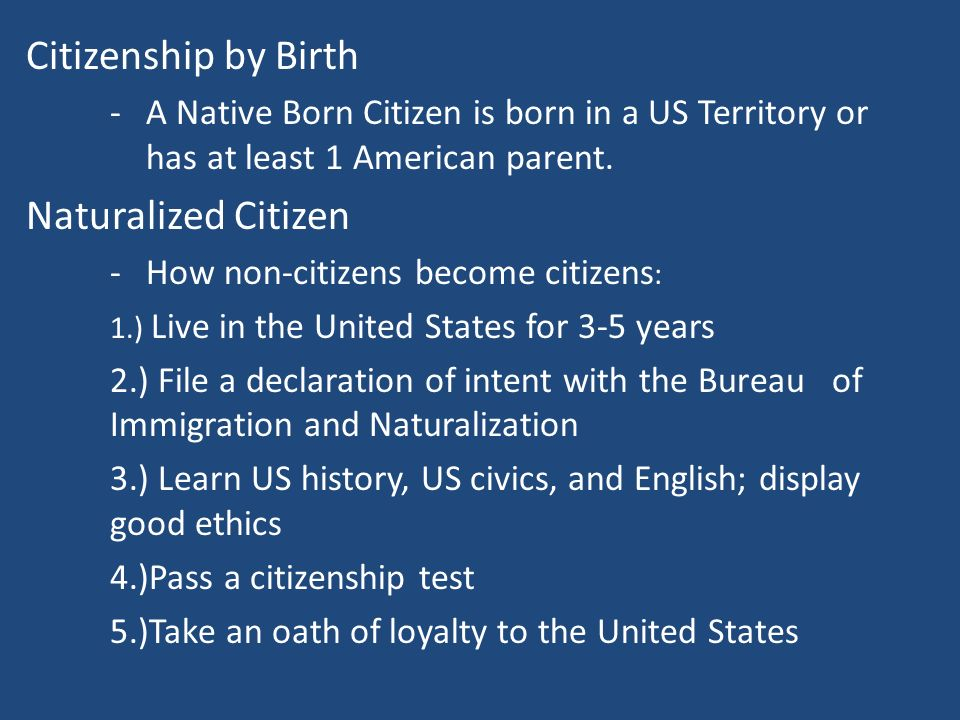 Citizenship by Birth Naturalized Citizen