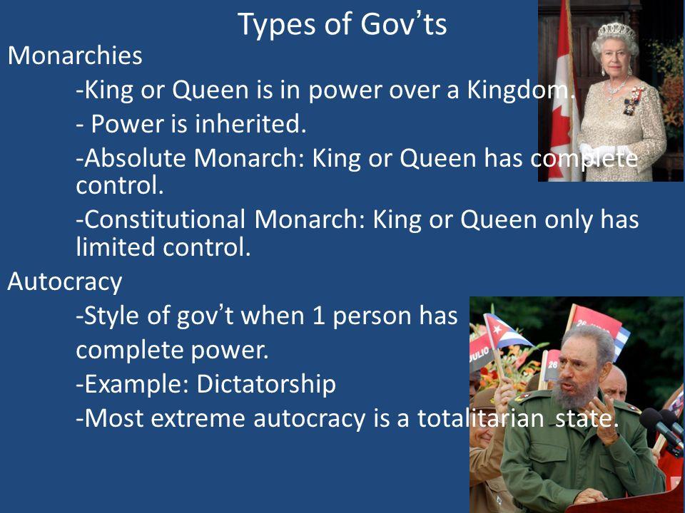 Types of Gov'ts