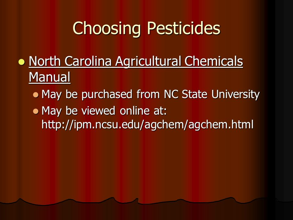 Choosing Pesticides North Carolina Agricultural Chemicals Manual