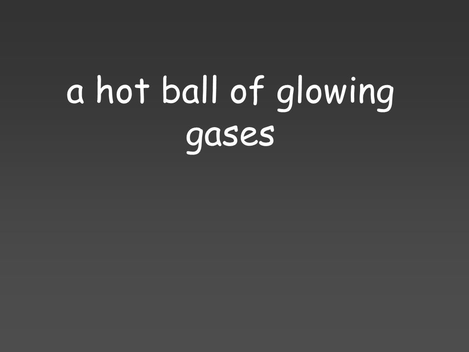 a hot ball of glowing gases