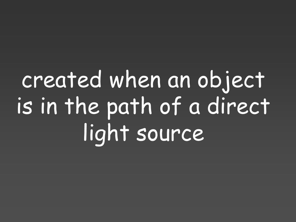 created when an object is in the path of a direct light source