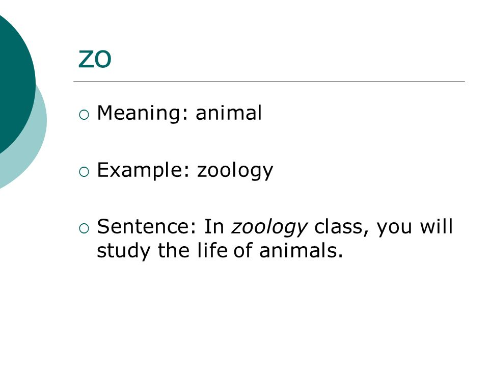 zo Meaning: animal Example: zoology