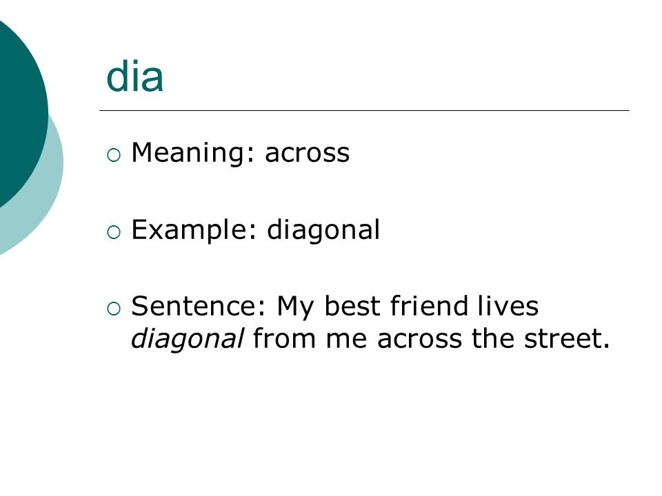 dia Meaning: across Example: diagonal
