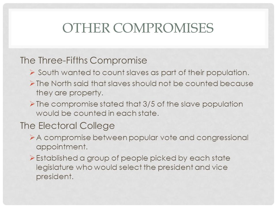 Other Compromises The Three-Fifths Compromise The Electoral College