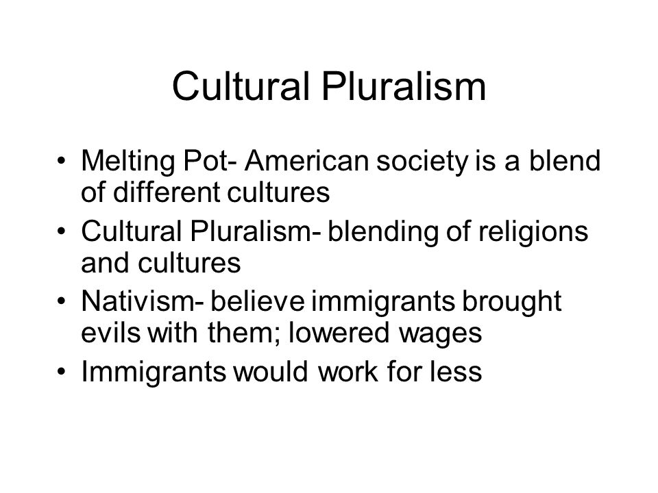 Cultural Pluralism Melting Pot- American society is a blend of different cultures. Cultural Pluralism- blending of religions and cultures.
