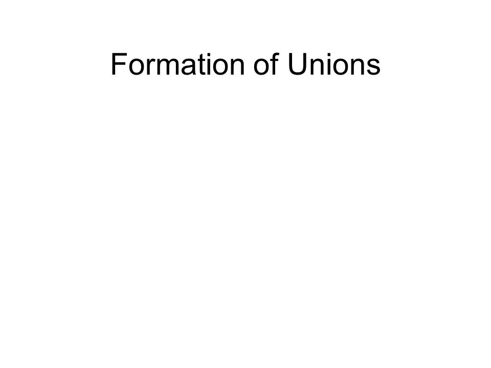 Formation of Unions