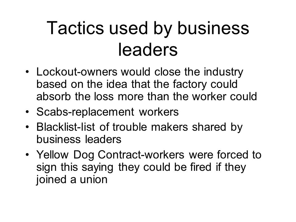 Tactics used by business leaders