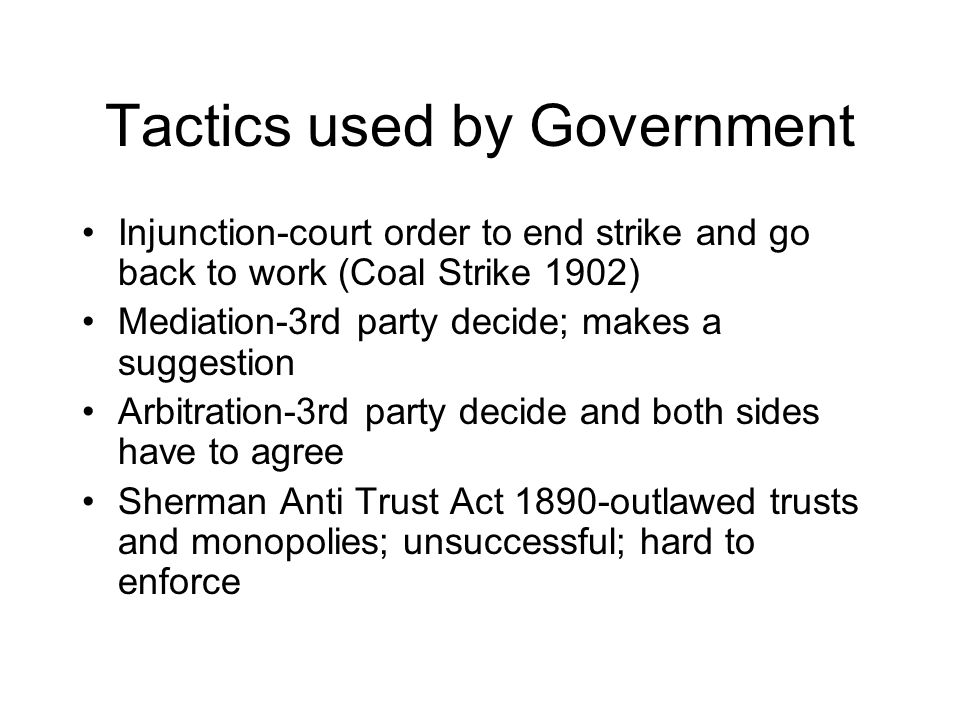 Tactics used by Government