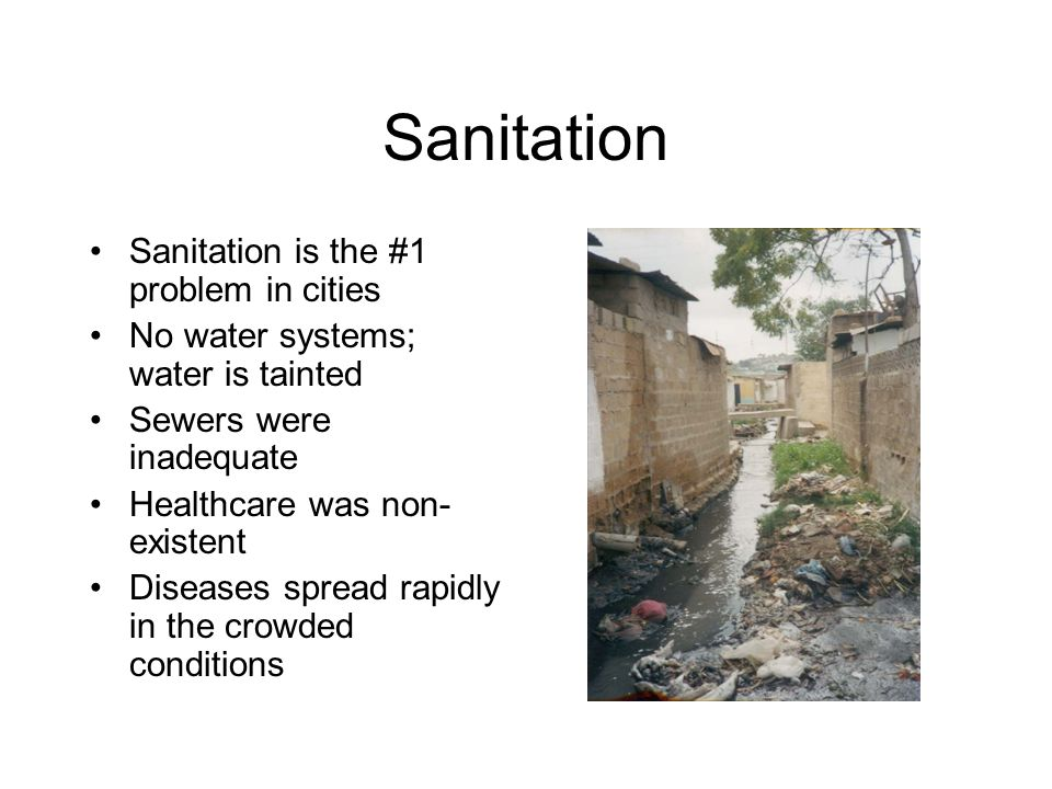 Sanitation Sanitation is the #1 problem in cities