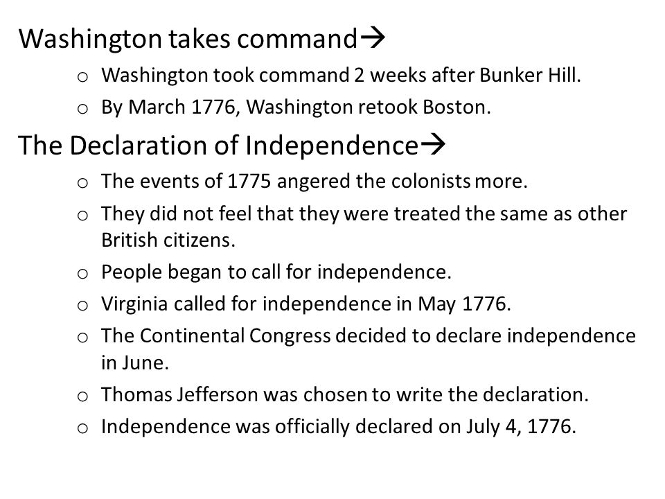 Washington takes command