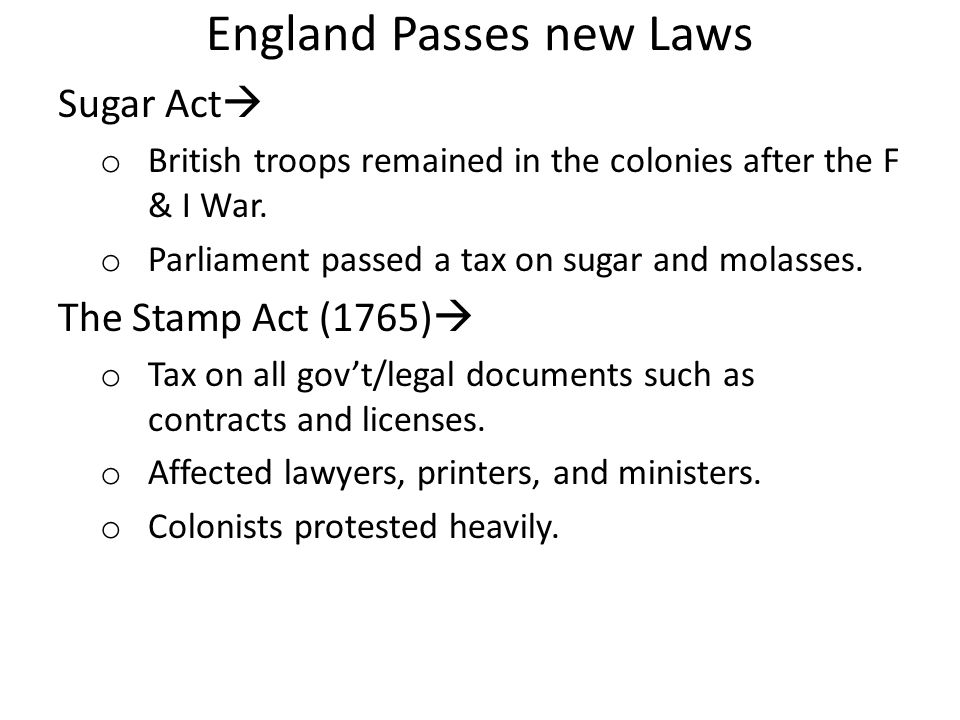 England Passes new Laws