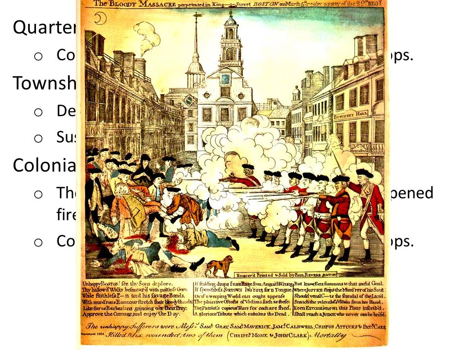Quartering Act Townshend Acts (1767) Colonial Response