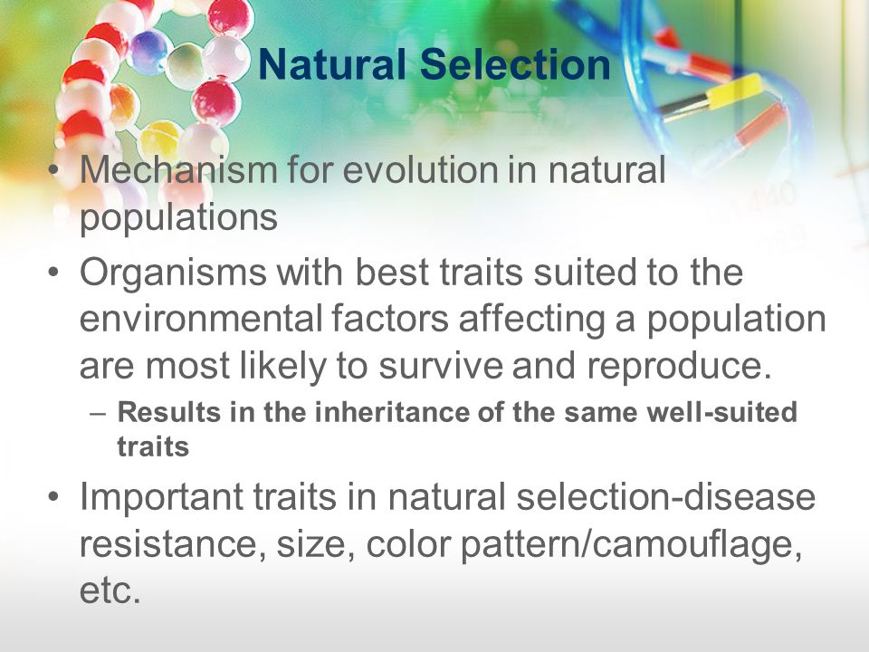 Natural Selection Mechanism for evolution in natural populations