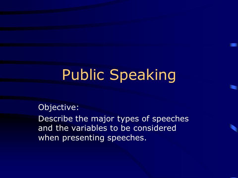 Public Speaking Objective: