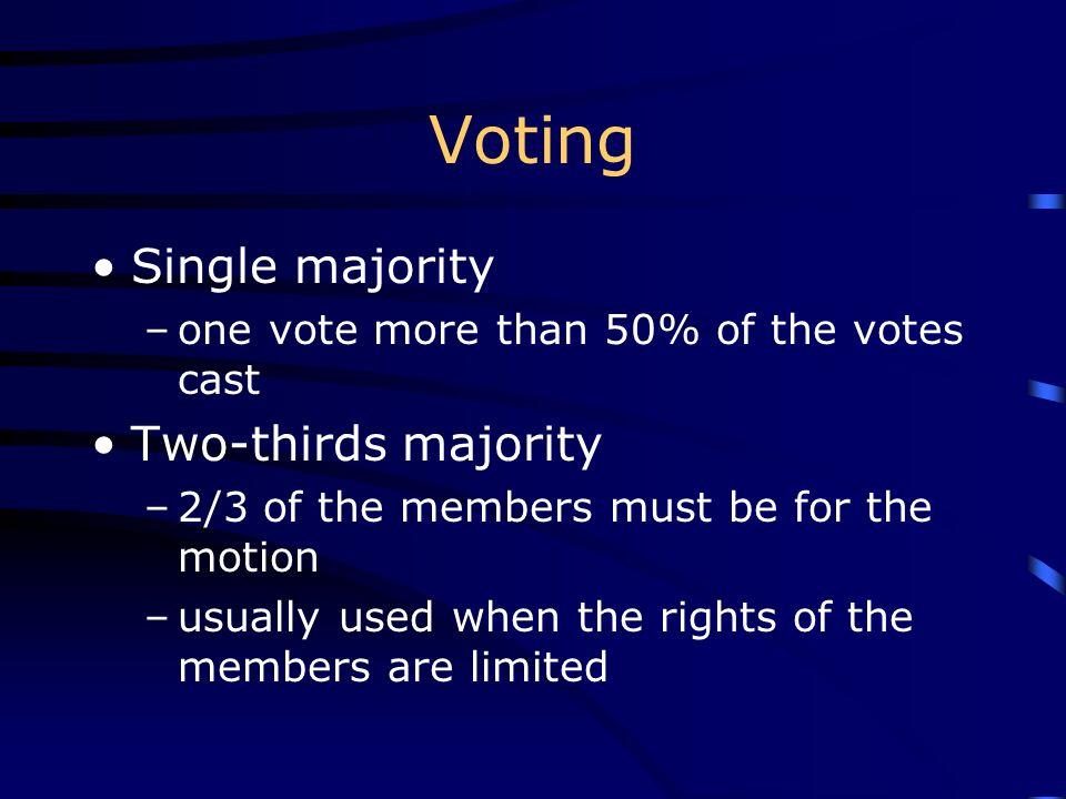 Voting Single majority Two-thirds majority
