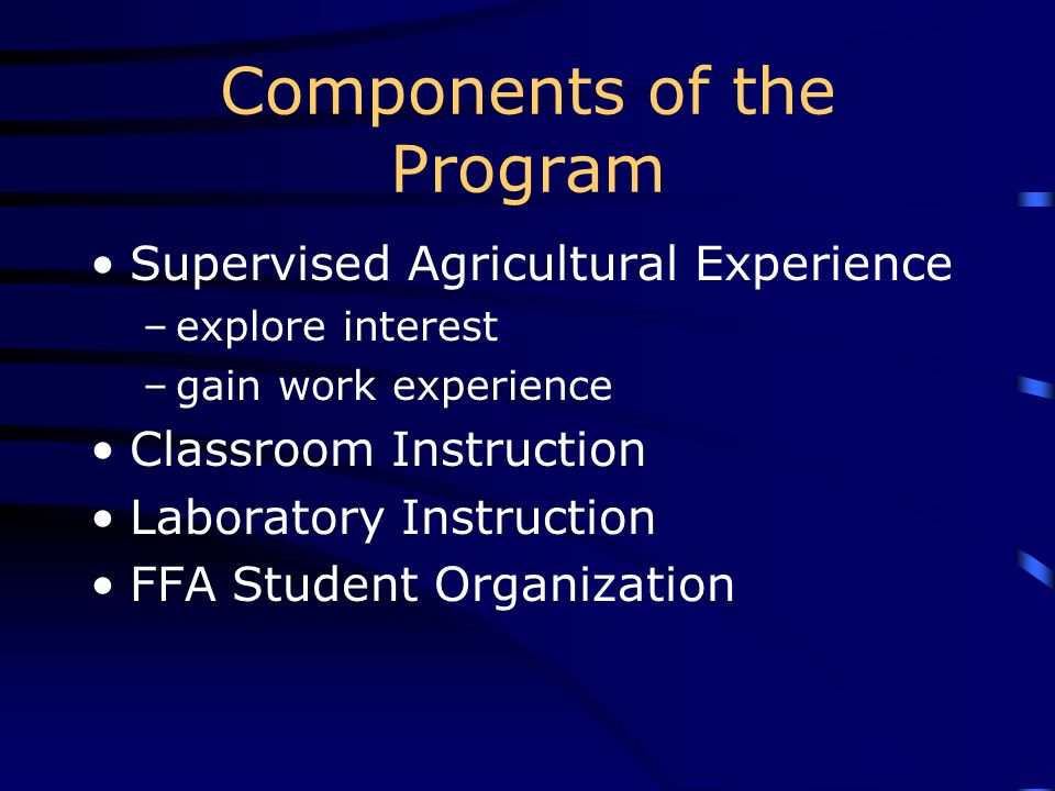 Components of the Program