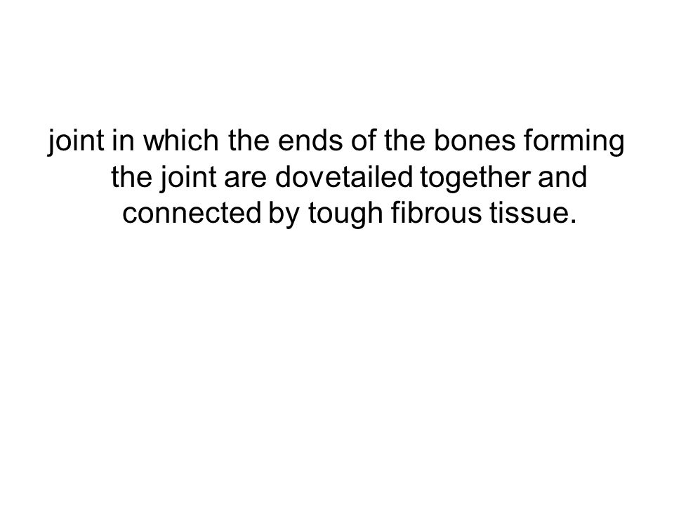 joint in which the ends of the bones forming the joint are dovetailed together and connected by tough fibrous tissue.
