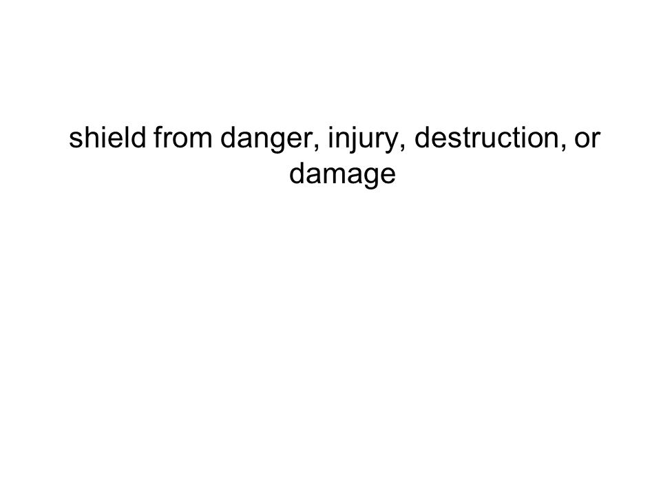 shield from danger, injury, destruction, or damage