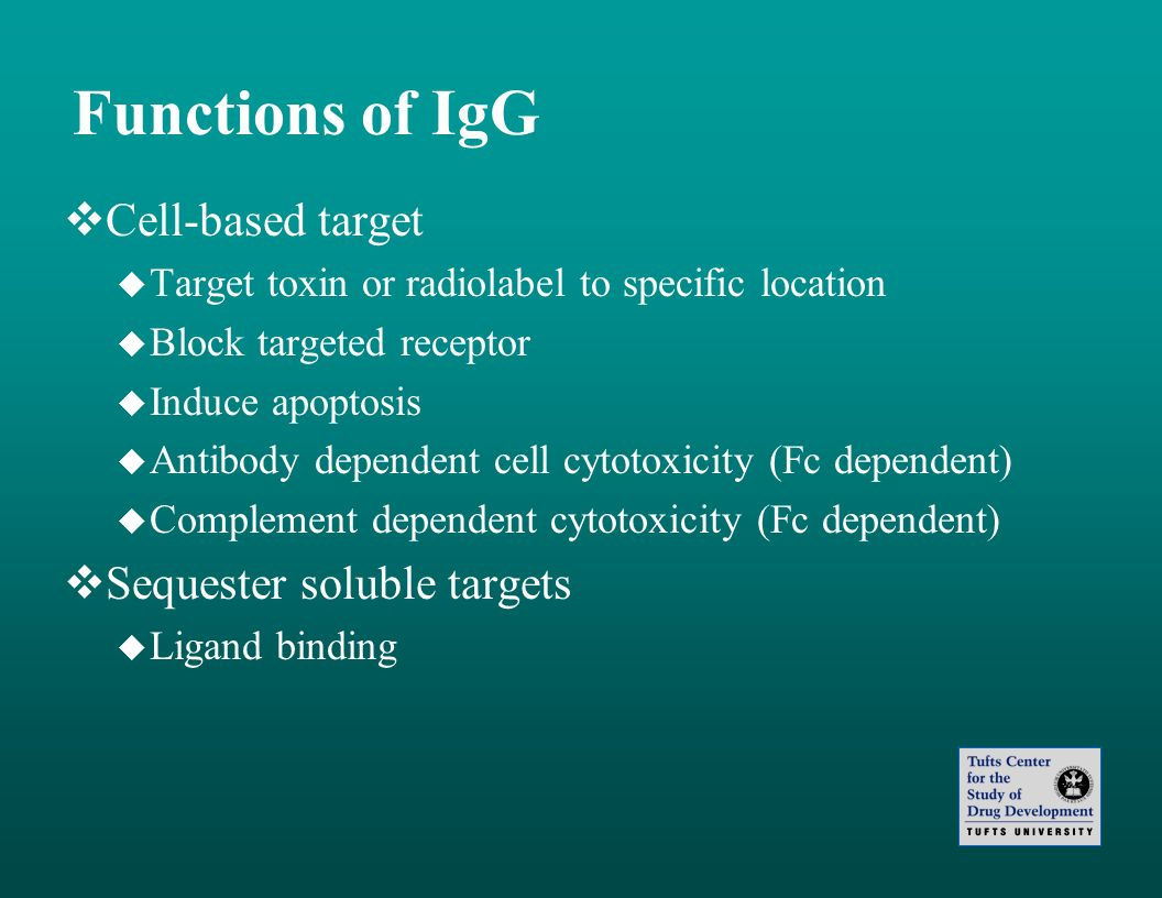 Functions of IgG Cell-based target Sequester soluble targets