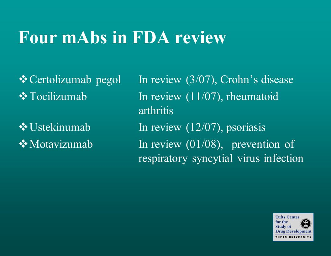 Four mAbs in FDA review Certolizumab pegol In review (3/07), Crohn's disease. Tocilizumab In review (11/07), rheumatoid arthritis.
