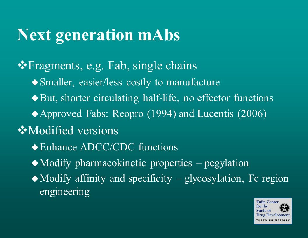 Next generation mAbs Fragments, e.g. Fab, single chains