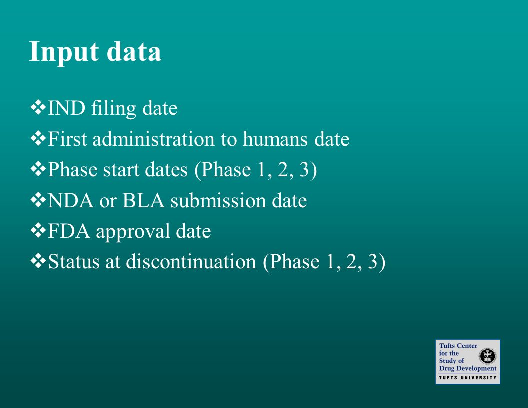 Input data IND filing date First administration to humans date