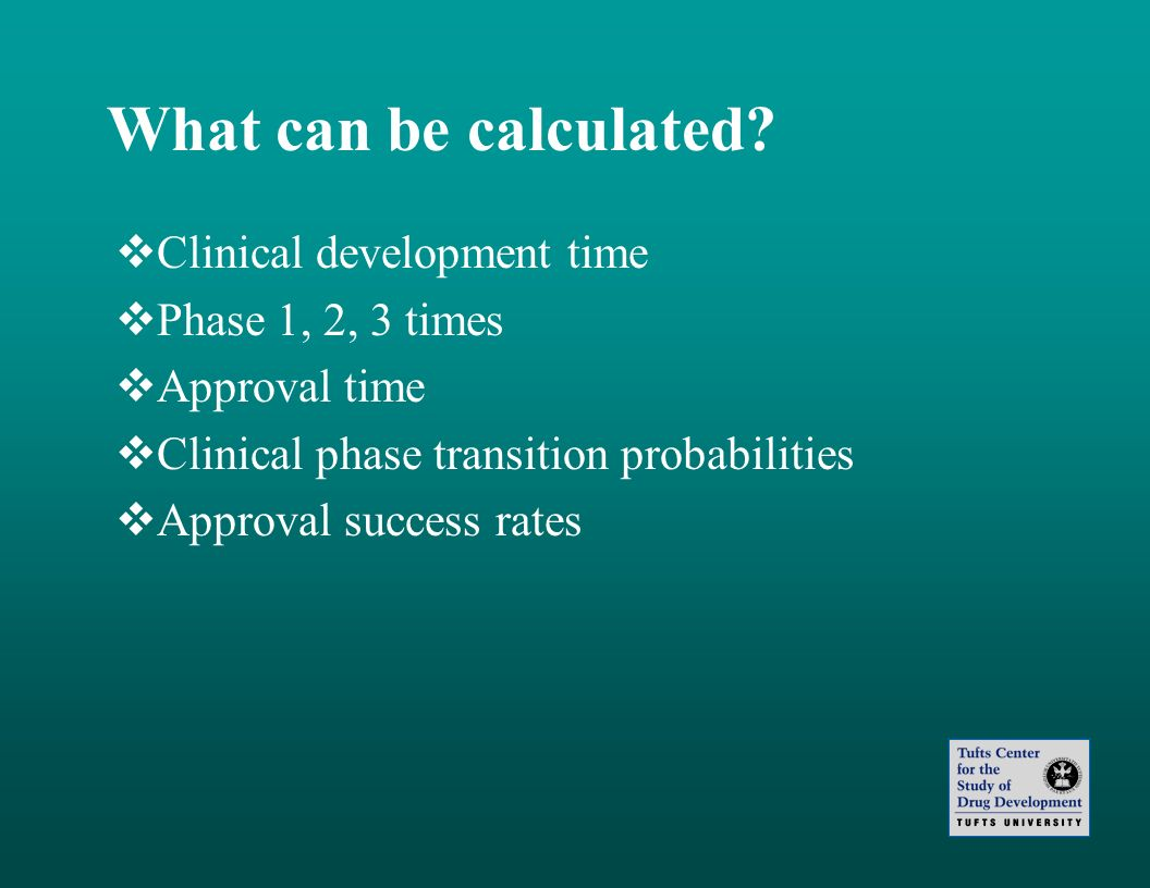 What can be calculated Clinical development time Phase 1, 2, 3 times