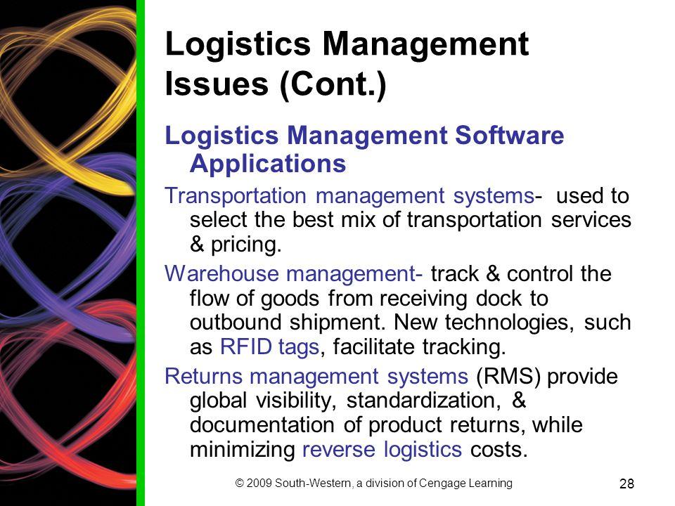 Logistics Management Issues (Cont.)