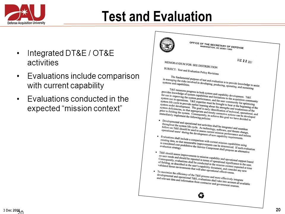 Test and Evaluation Integrated DT&E / OT&E activities