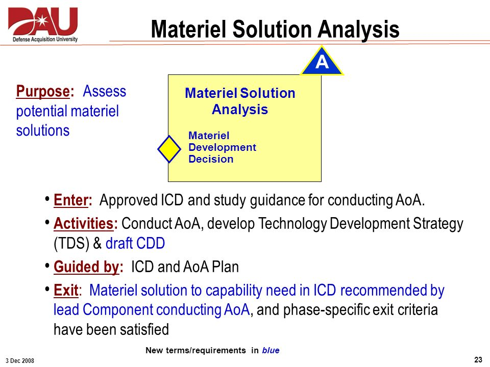 Materiel Solution Analysis New terms/requirements in blue
