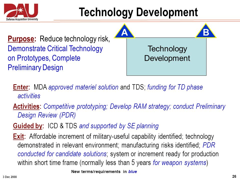Technology Development New terms/requirements in blue