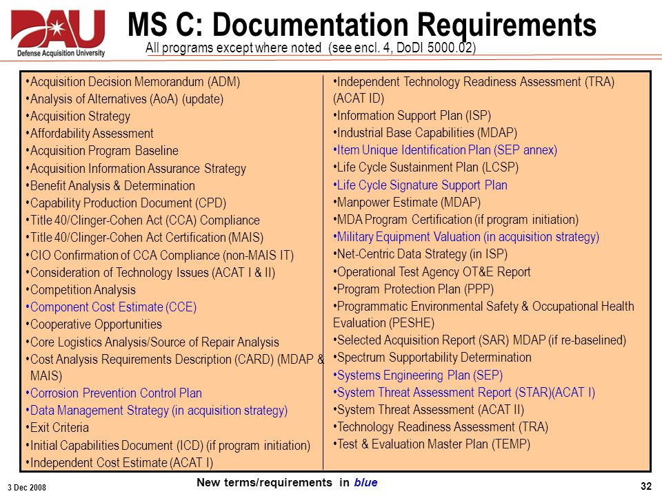 MS C: Documentation Requirements