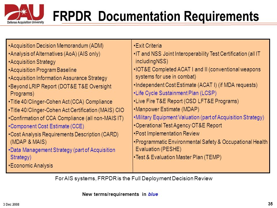 FRPDR Documentation Requirements New terms/requirements in blue