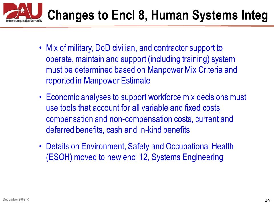 Changes to Encl 8, Human Systems Integ