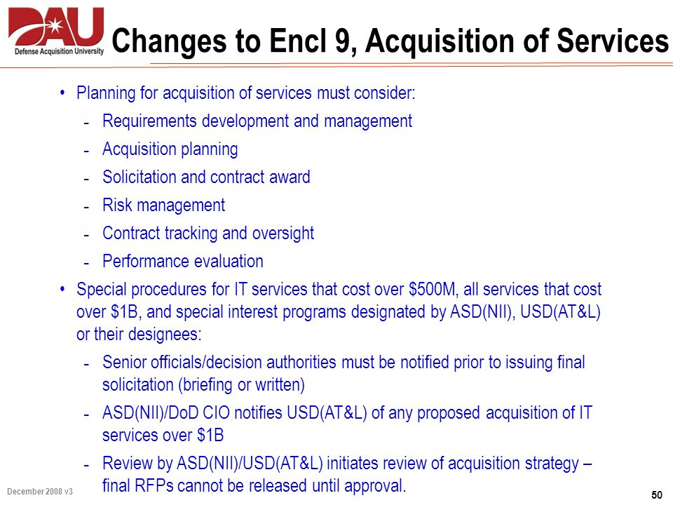 Changes to Encl 9, Acquisition of Services
