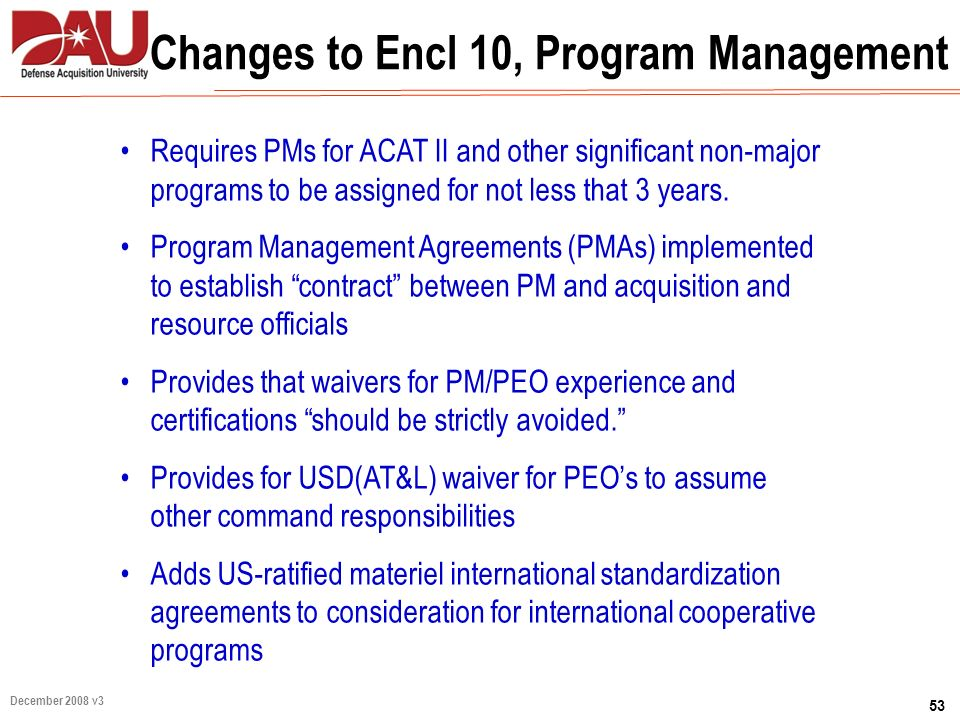 Changes to Encl 10, Program Management