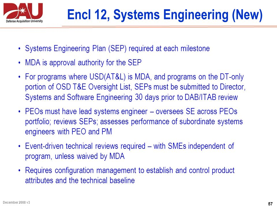 Encl 12, Systems Engineering (New)