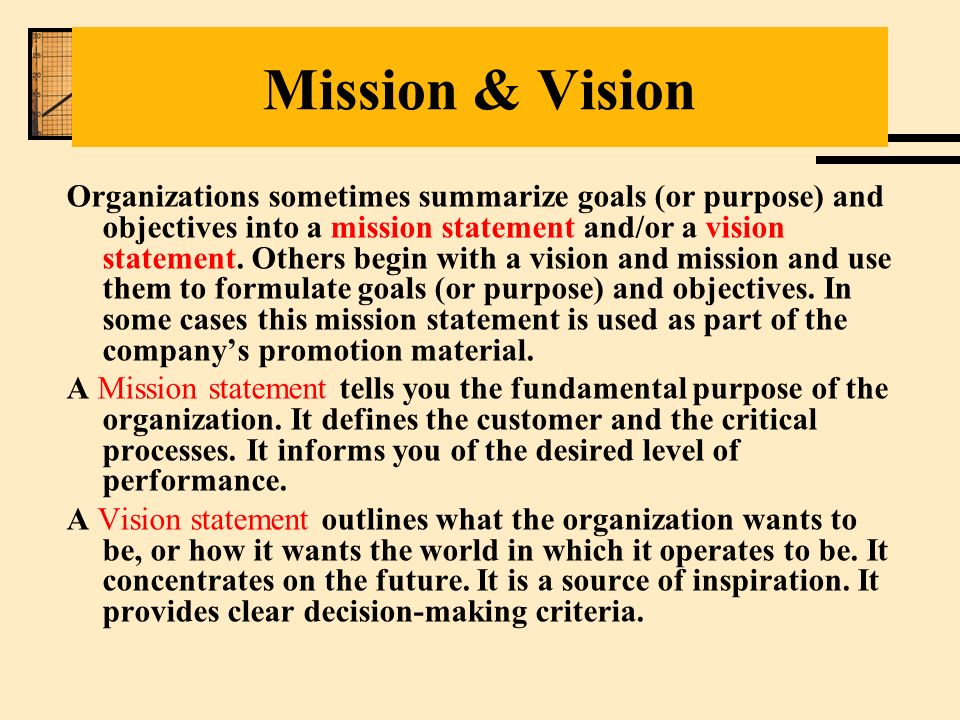 organisational mission statement Definition of mission statement:  a mission is different from a vision in that the former is the cause and the latter is the effect  organizational.