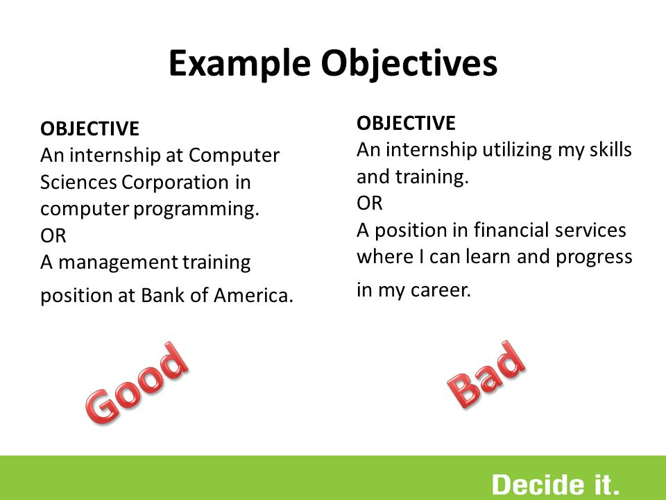 career objective for internship