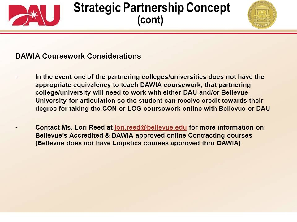 Strategic Partnership Concept (cont)