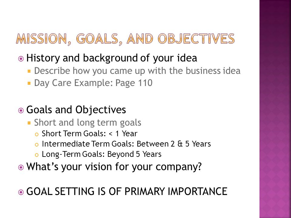 long term goal examples