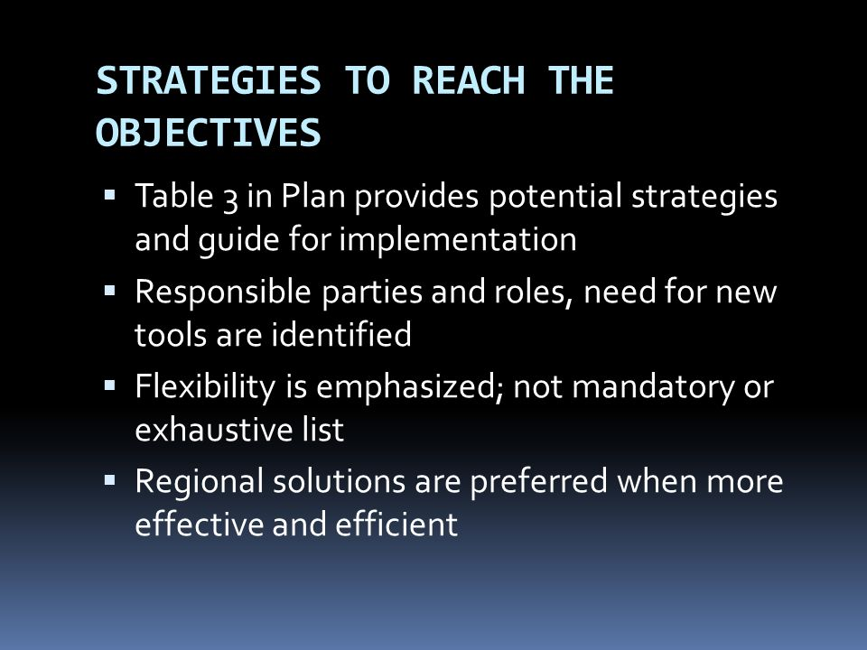 STRATEGIES TO REACH THE OBJECTIVES