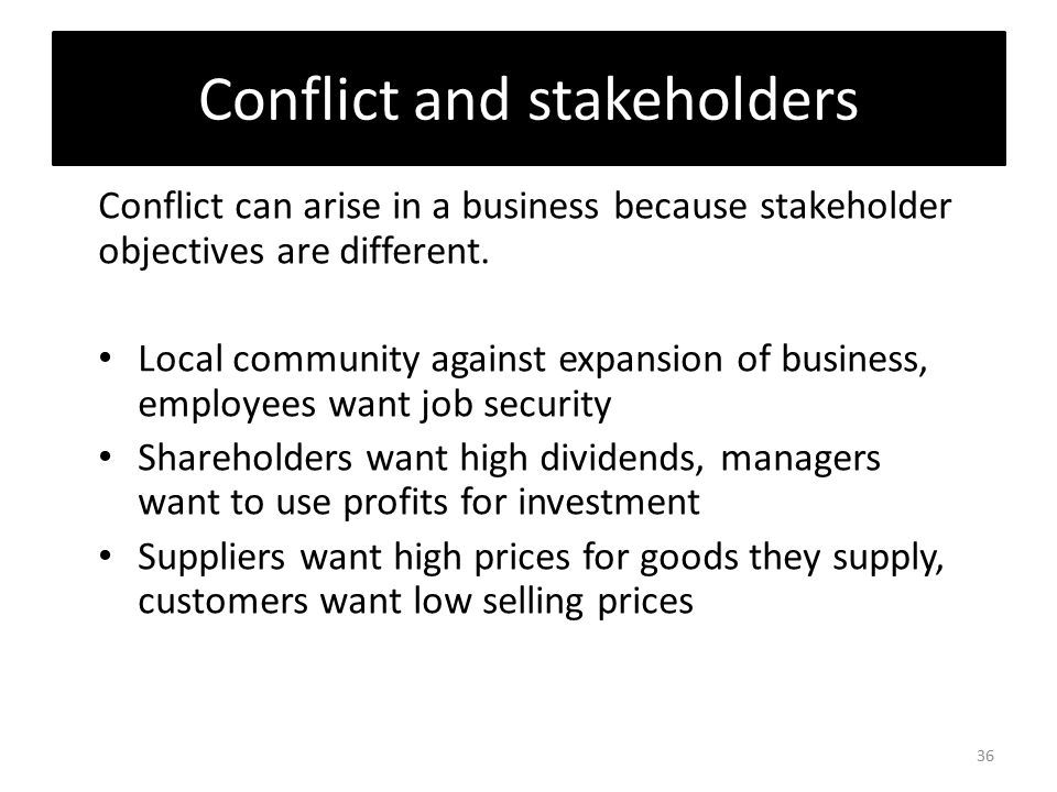 stakeholders conflict In this revision bite you learn about different types of internal and external stakeholders.