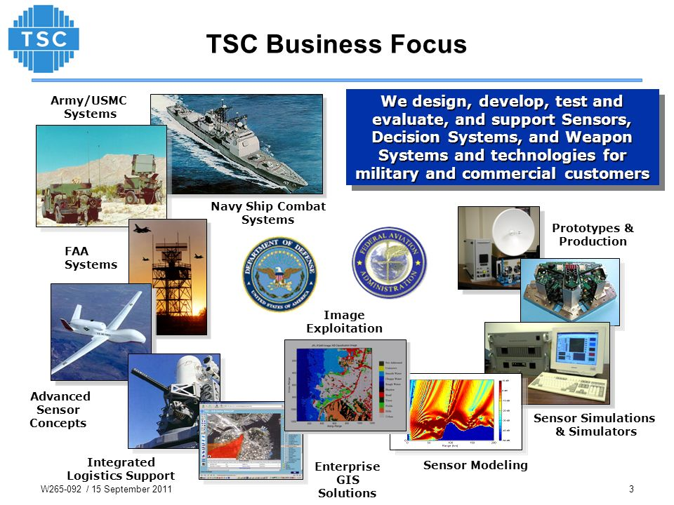 TSC Business Focus We design, develop, test and