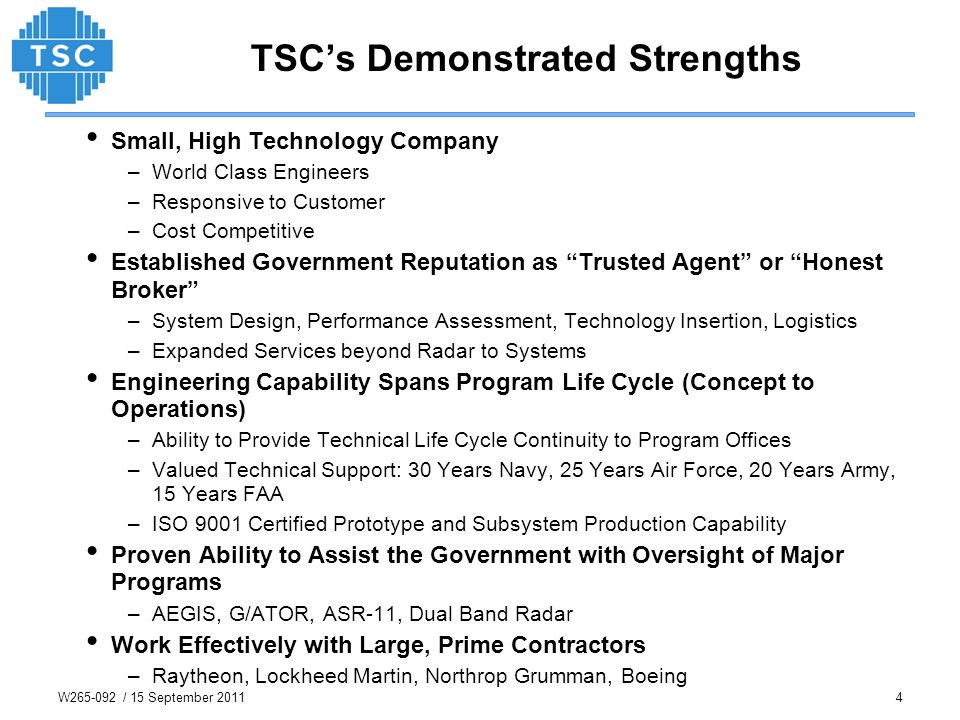 TSC's Demonstrated Strengths